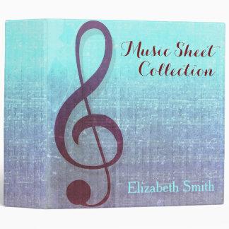 Aqua Berry Clef Music Sheet Collection Binder
