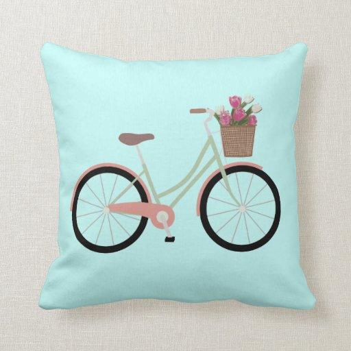 Aqua bicycle flower Throw pillow Zazzle
