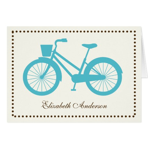 Aqua Bicycle Folded Note Cards