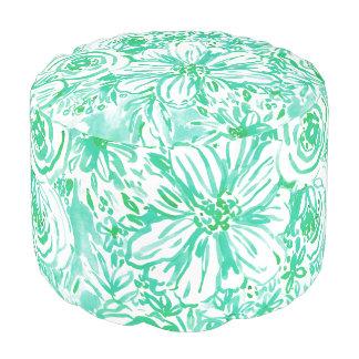 AQUA BIG SUNSHINE Floral Watercolor Pouf