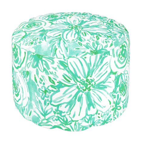 AQUA BIG SUNSHINE Floral Watercolor Pouf