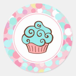 Aqua Birthday Cupcake Bakery Stickers