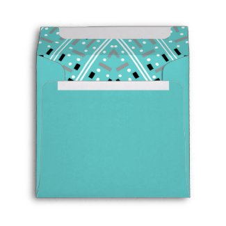 Aqua Birthday Party Square Envelope - Abstract envelope