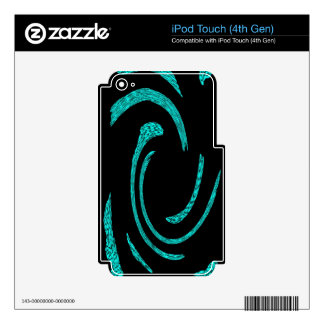 Aqua & Black Abstract Swirls iPod Touch 4G Skin