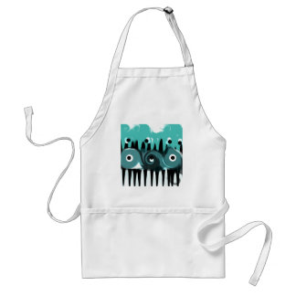 Aqua, Black and White Abstract Adult Apron