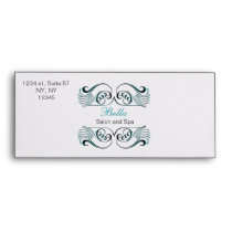aqua  black and white Chic Business envelopes