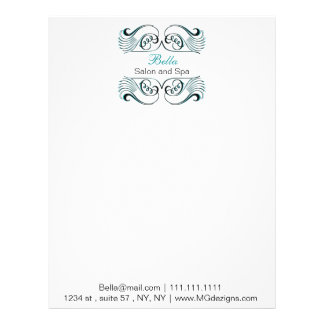 aqua  black and white Chic Business letterheads Letterhead