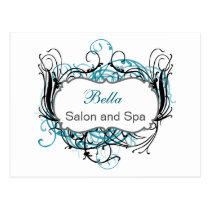 aqua black and white Chic Business Thank You Cards
