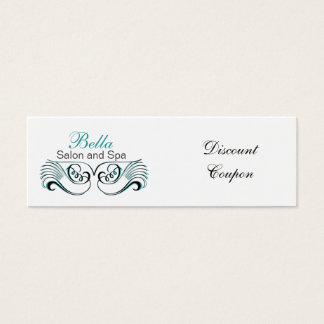 aqua ,black and white Chic discount coupon Mini Business Card