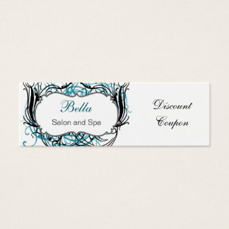 aqua,black and white Chic discount coupon Mini Business Card