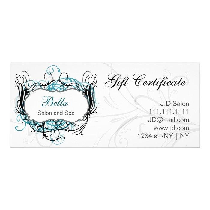 aqua,black and white Chic Gift Certificates