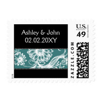 aqua black and white postage