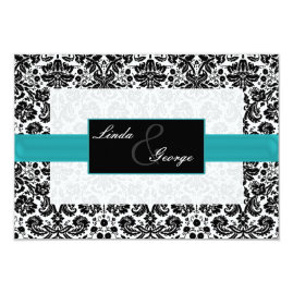 Tiffany Blue Damask Wedding Invitations