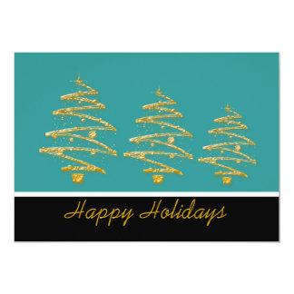 Aqua black christmas tree party card