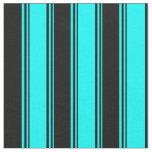 [ Thumbnail: Aqua & Black Colored Lined Pattern Fabric ]