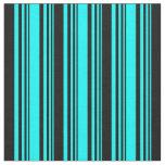 [ Thumbnail: Aqua & Black Colored Lines/Stripes Pattern Fabric ]