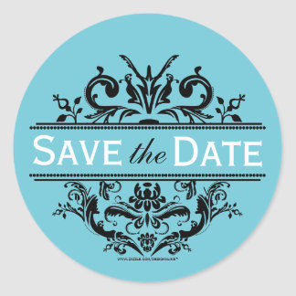 Aqua & Black Crest Save the Date Envelope Seal