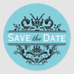 Aqua & Black Crest Save the Date Envelope Seal Round Stickers