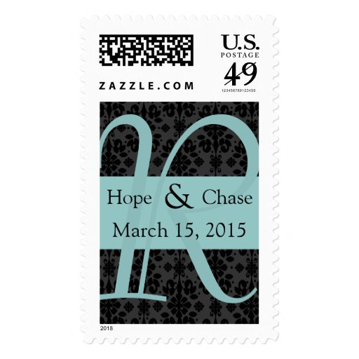 Aqua & Black Damask Monograml Wedding Stamp