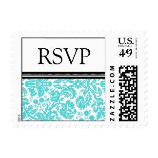 Aqua Black Damask RSVP  Wedding Stamps