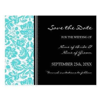 Aqua Black Damask Save the Date Wedding Postcard