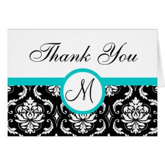 Aqua Black Damask Wedding Monogram Thank You Greeting Cards