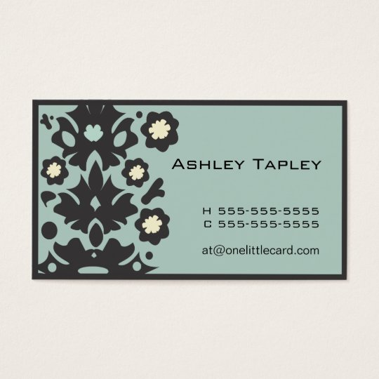 Aqua & Black Flower Power Business Card