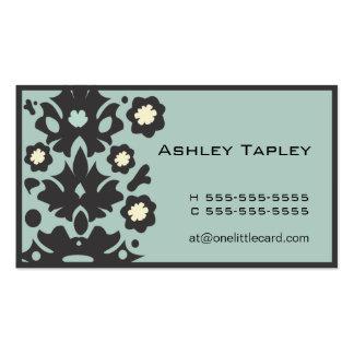 Aqua & Black Flower Power Business Card Template
