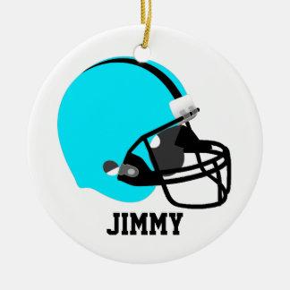 Aqua & Black Football Helmet Ornament