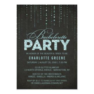 Aqua & Black Glitter Look Bachelorette Party Card