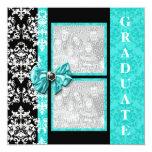 Aqua black graduation damask template PERSONALIZE Personalized Invites