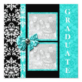 "Aqua black graduation damask template PERSONALIZE 5.25"" Square Invitation Card"