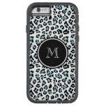Aqua Black Leopard Animal Print with Monogram Tough Xtreme iPhone 6 Case