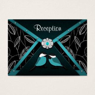 Aqua & Black Love Birds Wedding Reception Cards