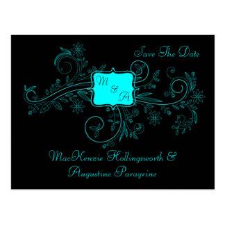 Aqua Black Monogram Floral Swirls Save The Date Postcard