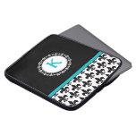 Aqua Black Monogrammed Fleur de Lis Laptop Sleeve