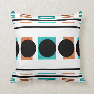 Aqua black orange pattern throw pillow