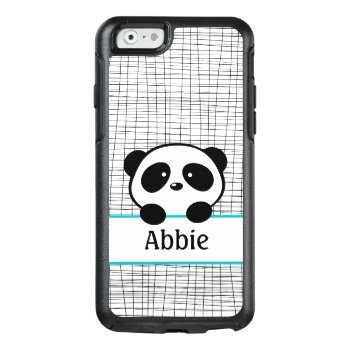 Aqua Black Panda Bear Personalized Animal Kids Otterbox Iphone 6/6s Case by whimsydesigns at Zazzle