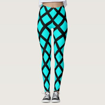 Aqua Black Pattern Leggings by RainbowChild_Art at Zazzle