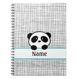 Aqua Black Personalized Panda Notebook