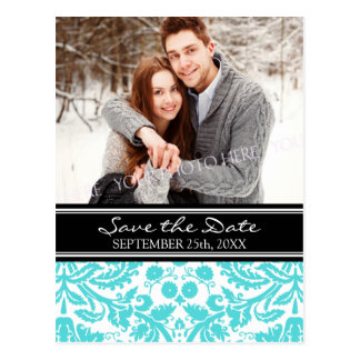 Aqua Black Photo Save the Date Wedding Postcards