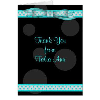 Aqua Black Polka Dot Ribbon Bat Mitzvah Thank You Card