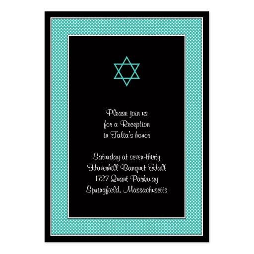 Aqua & Black Polka Dots Bat Mitzvah Reception Card Large Business Cards (Pack Of 100)