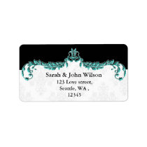 aqua black return address label