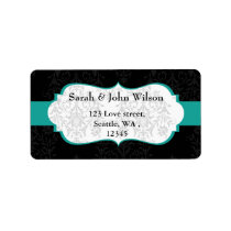 aqua black  ,return address label
