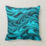 Aqua black silky waves pillow