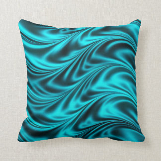 Aqua black silky waves throw pillow