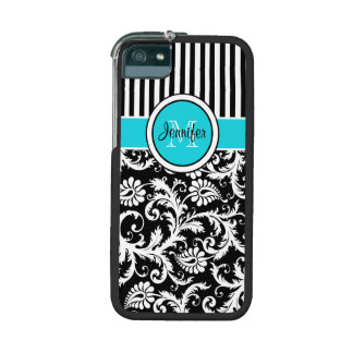 Aqua, Black Striped Damask iPhone 5 or 5s Case iPhone 5 Covers