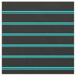 [ Thumbnail: Aqua & Black Stripes/Lines Pattern Fabric ]