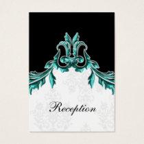 aqua black wedding Reception Cards